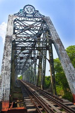 BRA0930AW South America, Brazil, Mato Grosso do Sul, 1930s British girder railway bridge over the Rio Miranda, serving the Pantanal train