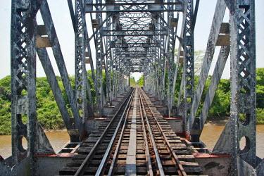 BRA0931AW South America, Brazil, Mato Grosso do Sul, 1930s British girder railway bridge over the Rio Miranda, serving the Pantanal train