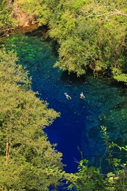BRA0932AW South America, Brazil, Mato Grosso do Sul, Bonito, snorkellers in the Lagoa Misteriosa cenote