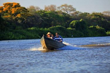 BRA0949AW South America, Brazil, Mato Grosso do Sul, Boat on the Rio Miranda in the Pantanal