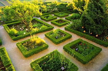 HMS182434 France, Drome, Drome Provencale, La Garde Adhemar village, labelled Les Plus Beaux Villages de France (The Most Beautiful Villages of France), the Jardin des herbes under the church