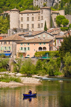 HMS608478 France, Ardeche, the Medieval Vogue, labelled Les Plus Beaux Villages de France (The Most Beautiful Villages of France), the castle of the Marquis refurbished in the 17th century and the Ardeche river