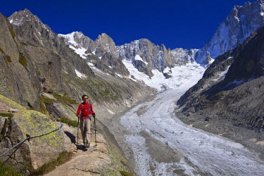 HMS481807 France, Haute Savoie, Chamonix Mont Blanc, the path to reach Couvercle refuge with a view on the glacier of Leschaud and the Petites and Grandes Jorasses