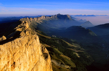 HMS039073 France, Isere, panoramic view from the Grand Veymont (2341 m) in the Vercors Natural Regional Park