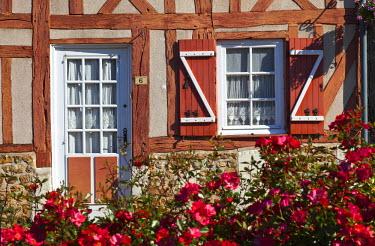 HMS674026 France, Eure, Le Bec Hellouin, labelled Les Plus Beaux Villages de France (The Most Beautiful Villages of France), Place de l'Abbe Herluin, normand timbered house