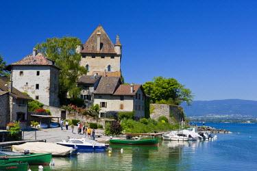 HMS577575 France, Haute Savoie, Yvoire, Leman Lake, labelled Les Plus Beaux Villages de France (the Most Beautiful Villages of France), the marina and the Castle of the 14th century