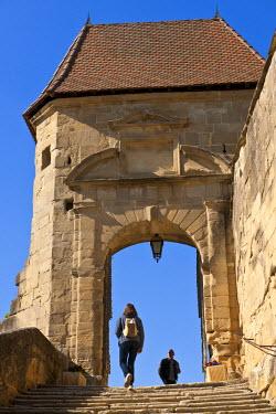 HMS608496 France, Isere, Saint Antoine l'Abbaye, labelled Les Plus Beaux Villages de France (The Most Beautiful Villages of France), on the Route of Santiago de Compostela, the door of the rampart, access to St...