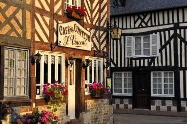 HMS725222 France, Calvados, Pays d'Auge, Beuvron en Auge, labelled Les Plus Beaux Villages de France (The Most Beautiful Villages of France), Cafe du Coiffeur