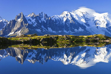 HMS463141 France, Haute Savoie, Chamonix Mont Blanc, lac des Cheserys in the Reserve naturelle nationale des Aiguilles Rouges (Aiguilles Rouges National Nature Reserve) with a view on the Mont Blanc (4810m) on...