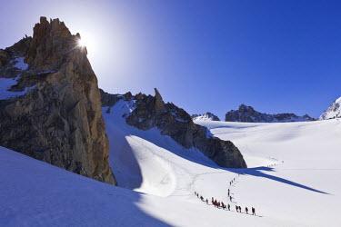 HMS608622 France, Haute Savoie, Chamonix Mont Blanc, Mont Blanc Massif, glacial ride on the Glacier du Tour