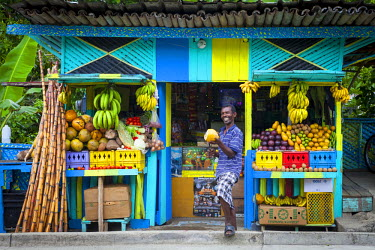 JM02171 Roadside Fruit stall, St. Mary Parish, Jamaica, Caribbean, (MR)