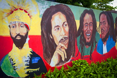 JM02261 Mural, Bob Marley Museum, Kingston, St. Andrew Parish, Jamaica, Caribbean