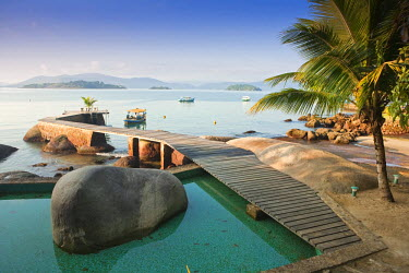 BRA1094AW Brazil, Rio de Janeiro, Parati, a boat jetty on an island in Parati Bay