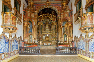 BRA1108AW South America, Brazil, Alagoas, Rio Sao Francisco, Penedo, azulejos and rich carvings around the altar piece produced by the Afro-Brazilian painter and sculptor Liborio Lazaro Leal in 1784, inside the...