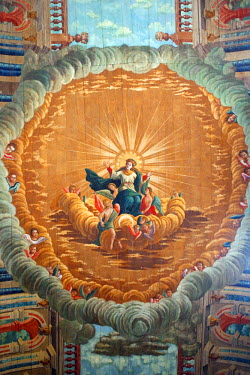 BRA1109AW South America, Brazil, Alagoas, Penedo, trompe-l'oeil ceiling painting of the ascension of Our Lady painted by the Afro-Brazilian painter Liborio Lazaro Leal in 1784, inside the Portuguese baroque Chu...