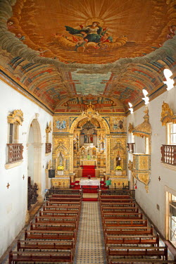 BRA1110AW South America, Brazil, Alagoas, Penedo, the Portuguese baroque Church of Our Lady of the Angels) in the Convent of St. Francis showing the trompe-l'oeil ceiling painting of the ascension of Our Lady p...