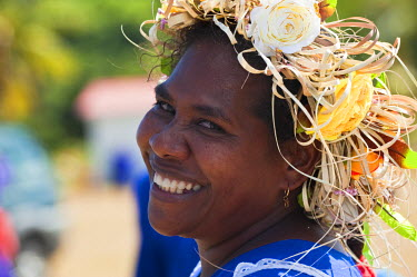 HMS360391 New Caledonia, Loyalty Islands, Lifou Island, Jokin, prostestant party that brings about a week the women of the islands, portrait