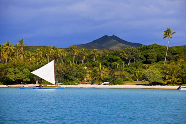 HMS356244 New Caledonia, isle of Pines, outrigger canoe in Bay St Joseph