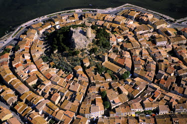 HMS107046 France, Aude, Gruissan, old village around the Barberousse medieval tower (aerial view)