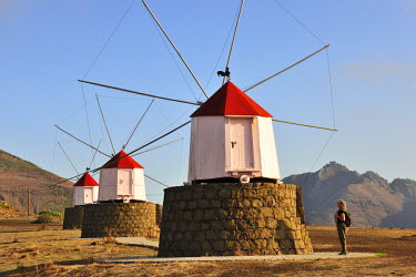 POR6969AW Traditional windmills of Porto Santo island. Madeira, Portugal (MR)