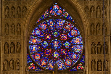 HMS186329 France, Marne, Reims, Notre-Dame de Reims cathedral, listed as World Heritage by UNESCO, the stained glass rose-window