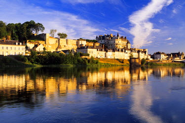 HMS210462 France, Indre et Loire, Amboise, Loire Valley listed as World Heritage by UNESCO, Chateau d'Amboise and the lower town reflecting on the Loire river