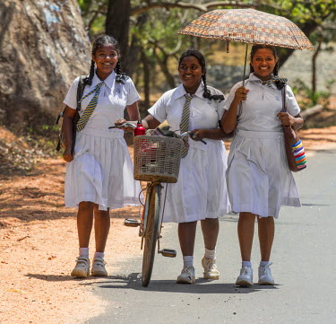 SRI1535 Three happy schoolgirls in white uniform return home from school at Mihintale, Sri Lanka