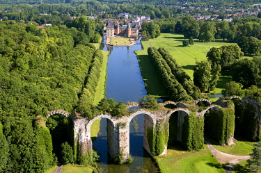 HMS253009 France, Eure et Loir, the aqueduct and the castle of Maintenon (aerial view)