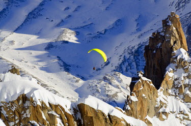 FRA7569 Europe, France, French Alps, Haute-Savoie, Chamonix, paraglider in the Valle Blanche off piste ski area