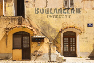 FR11278 France, Corsica, Haute-Corse Department, Central Mountains Region, Corte, Old Boulangerie bakery sign