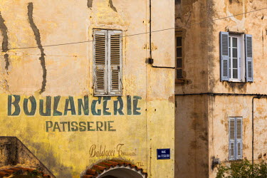 FR11285 France, Corsica, Haute-Corse Department, Central Mountains Region, Corte, Old Boulangerie bakery sign