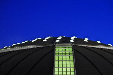 SPA4844 Architectural roof detail of the  Palau Sant Jordi Stadium Designed by the architects Arata Isozaki and Mamoru Kawaguchi  at twilight, Sants Montjuic, Barcelona, Cataluna, Spain.
