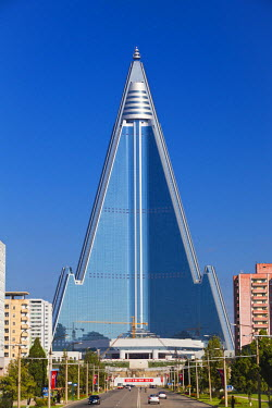 NKO0073AW Democratic People's Republic of Korea. North Korea, Pyongyang. The Ryugyong Hotel, commonly referred to as the 'Hotel of Doom'.