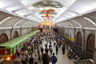 NKO0082AW Democratic People's Republic of Korea. North Korea, Pyongyang. Punhung Metro Station.