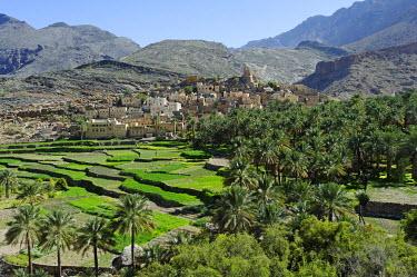 OMA2397 Oman, Dakhiliyah Governate, Jebel Hajar, Balad Sayt (aka Bilad Sayt). The ancient and remote village of Balad Sayt lies deep in the Jebel Hajar.