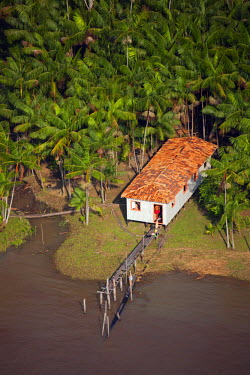 BRA1536AW South America, Brazil, Para, Amazon, an aerial shot of a stilt house with a jetty typical of the Brazilian Amazon
