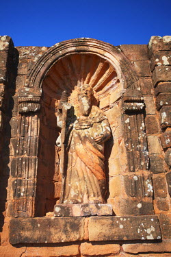 PAR0004AW Statue at ruins of Jesuit mission at Trinidad (UNESCO World Heritage Site), Itapua,  Paraguay