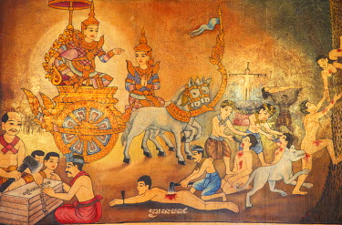 CMB1242AW Mural from the Reamker (Khmer version of the Ramayana), Wat Phnom, Phnom Penh, Cambodia