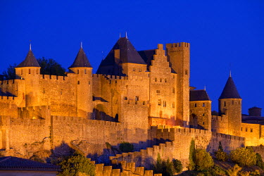 HMS388055 France, Aude, Carcassonne, medieval town listed as World Heritage by UNESCO, the Porte d'Aude
