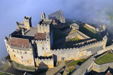 HMS463411 France, Dordogne, Perigord Noir (Black Perigord), Beynac et Cazenac, labelled Les Plus Beaux Villages de France (The Most Beautiful Villages of France), the castle (aerial view)