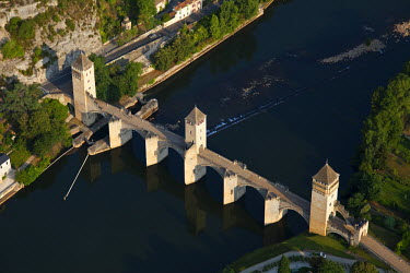 HMS462378 France, Lot, Quercy, Vallee du Lot, Cahors, Pont Valentre, fortified bridge dated 14th century (aerial view)