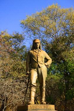 ZIM2523AW Statue of David Livingstone, Zambezi River, near Victoria Falls, Zimbabwe, Africa