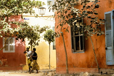 HMS366874 Senegal, Goree Island listed as World Heritage by UNESCO, street scene