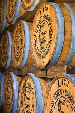 HMS387607 Caribbean, Martinique (French West Indies), Le Francois, Domaine de l'Acajou, Clement housing, Clement distillery, winery a barrel for the aging of old rum, compulsory mention
