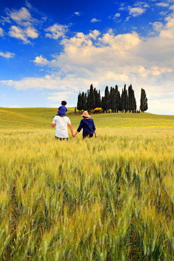 ITA1688AW Italy, Tuscany, Siena district, Orcia Valley, Family takes a walk in the countryside near San Quirico d'Orcia. (MR)
