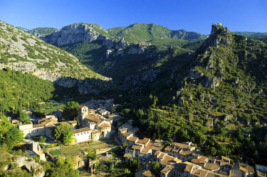 HMS543678 France, Herault, the Causses and the Cevennes listed as World Heritage by UNESCO, Saint Guilhem le Desert, labelled Les Plus Beaux Villages de France (The Most Beautiful Villages of France), Gellone A...