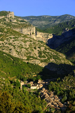 HMS590309 France, Herault, the Causses and the Cevennes, listed as World Heritage by UNESCO, Saint Guilhem le Desert, labelled Les Plus Beaux Villages de France (the Most Beautiful Villages of France), the Vall...