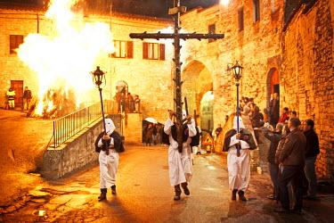 ITA1734AW Italy, Umbria, Perugia district, Gubbio. Good Friday procession