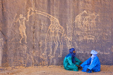 HMS0313480 Algeria, Sahara,Tadrart Plateau, site listed as World Heritage by UNESCO, neolithic engraving (10.000 B.C.) in the times when the big animals were in the savannah, nowadays it has become a desert, eng...