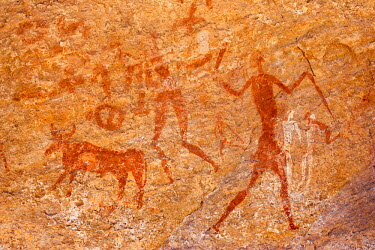HMS0313326 Algeria, Sahara, Tadrart Plateau, site listed as World Heritage by UNESCO, neolithic rock art (Bovidian period, 7000 B.C.), ochre, cow milk and animal blood